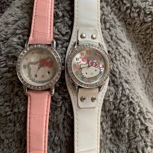 2 hello kitty watches. practically new, pink&white